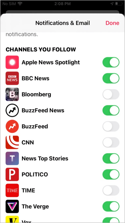 Turn off Apple News notifications for specific chanel from News app