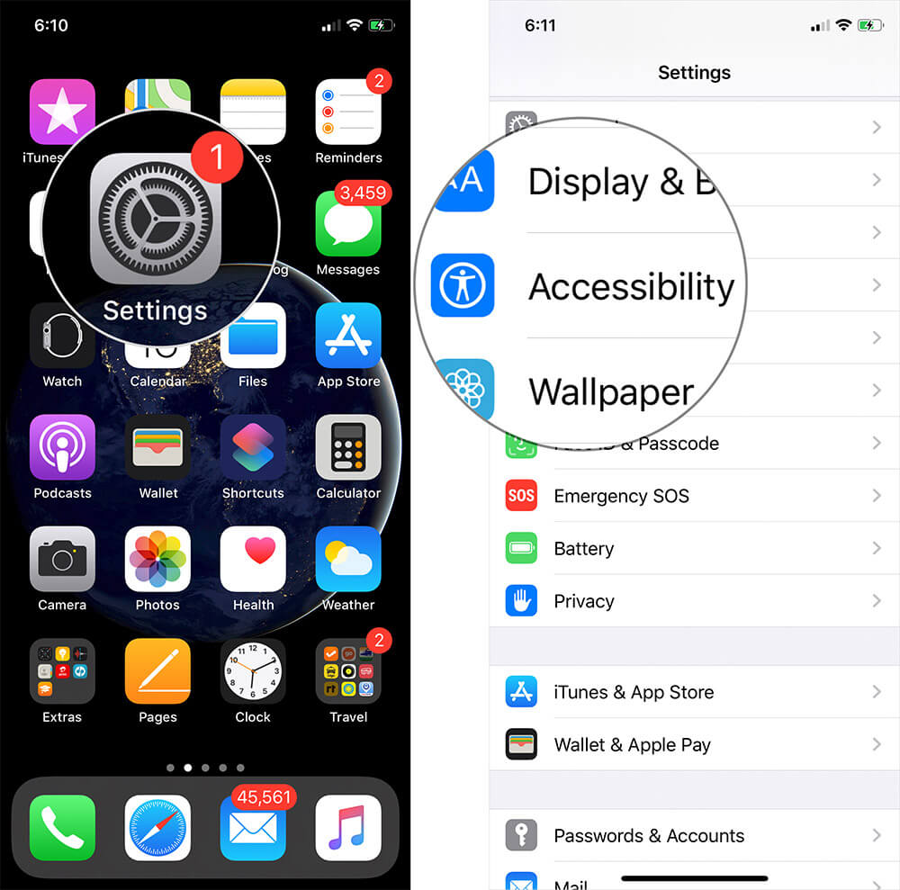 Tap on Settings then Accessibility on iPhone or iPad