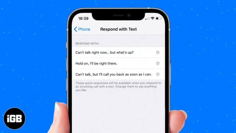 Set up custom message reply on iPhone for incoming calls