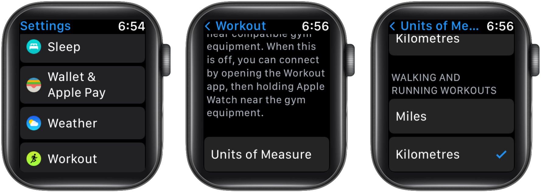 Изменить мили на километры на Apple Watch