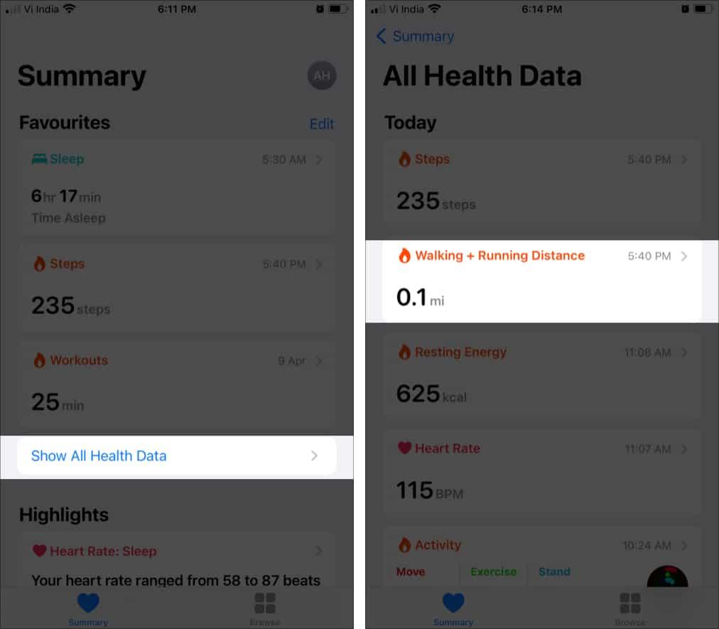 Нажмите Показать все данные о здоровье, выберите расстояние ходьбы и бега.