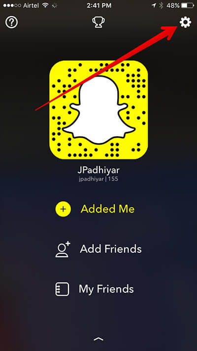Tap on Settings in Snapchat on iPhone
