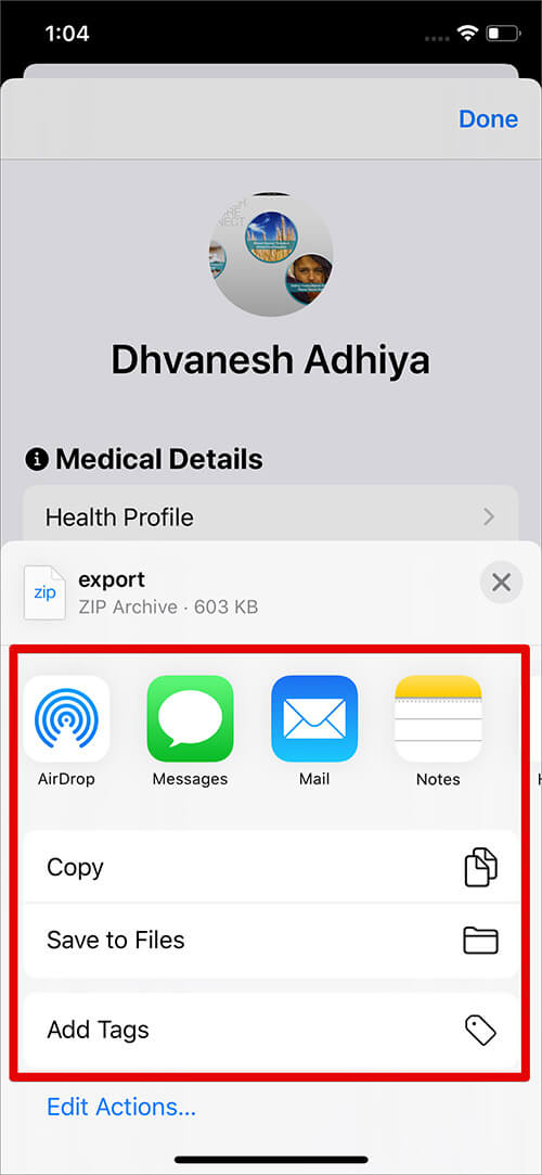 Save Health Data in File App on iPhone