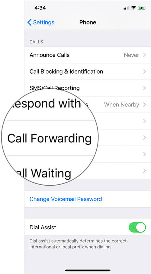 Tap on Call Forwarding on iPhone