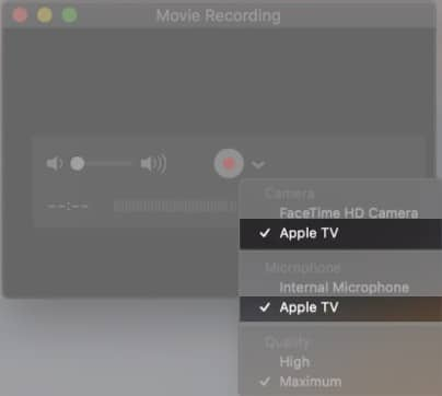 Select Apple TV from cameras on Mac
