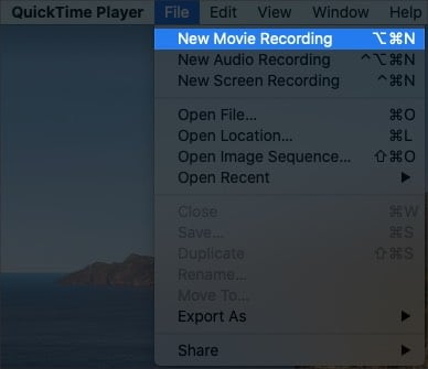 Select new movie recording in QuickTime Player on Mac