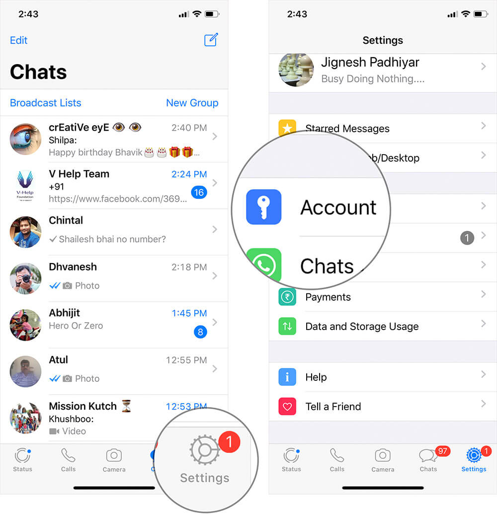 Tap on Settings then Account in WhatsApp on iPhone