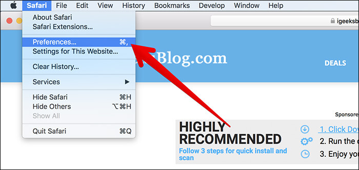 Click on Preferences in Safari on Mac