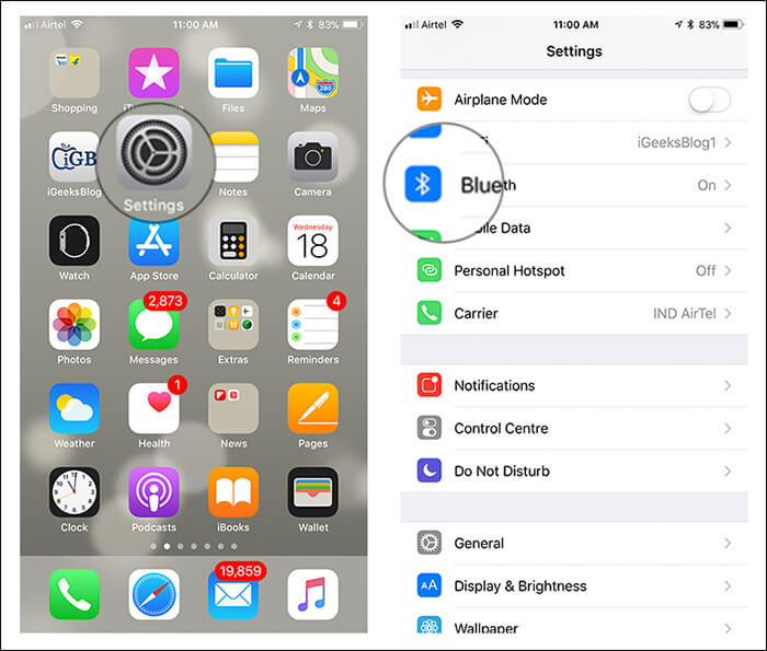 Open Settings then Bluetooth on iPhone Running iOS 11