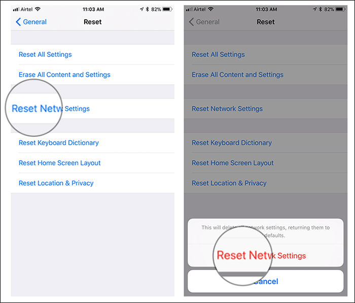 Reset Network Settings on iPhone in iOS 11