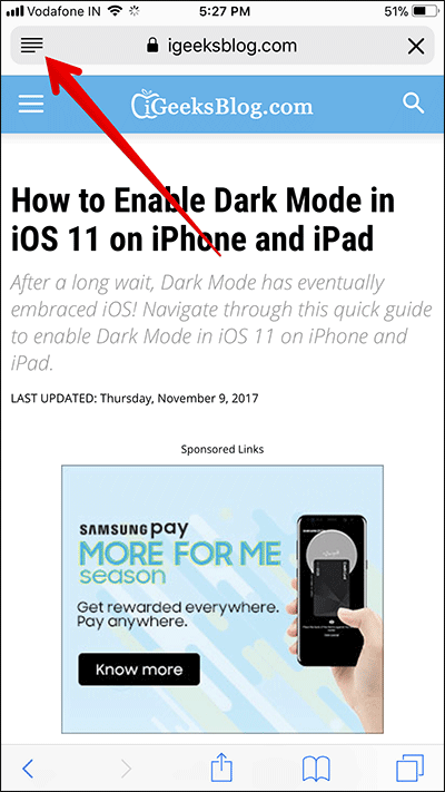 Enable Reader Mode in Safari in iOS 11