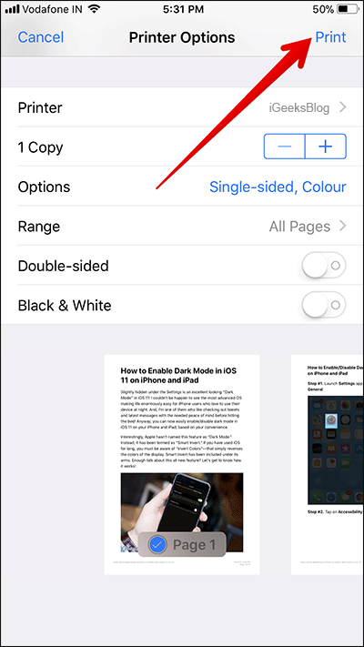 Print Webpage without Ads in Safari on iPhone or iPad