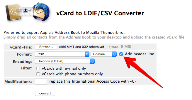Select Add Header Line to Export iPhone Contacts in Excel