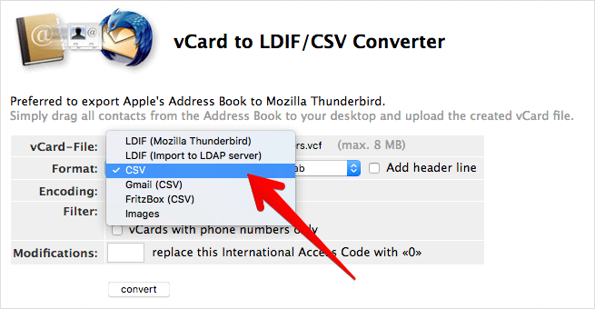 Select CSV to Export iPhone Contacts to Excel