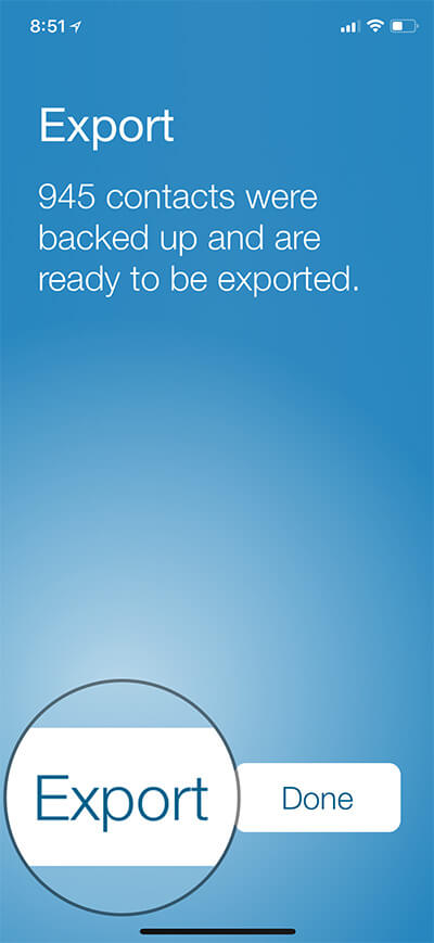 Tap on Export in Export Contact iPhone App