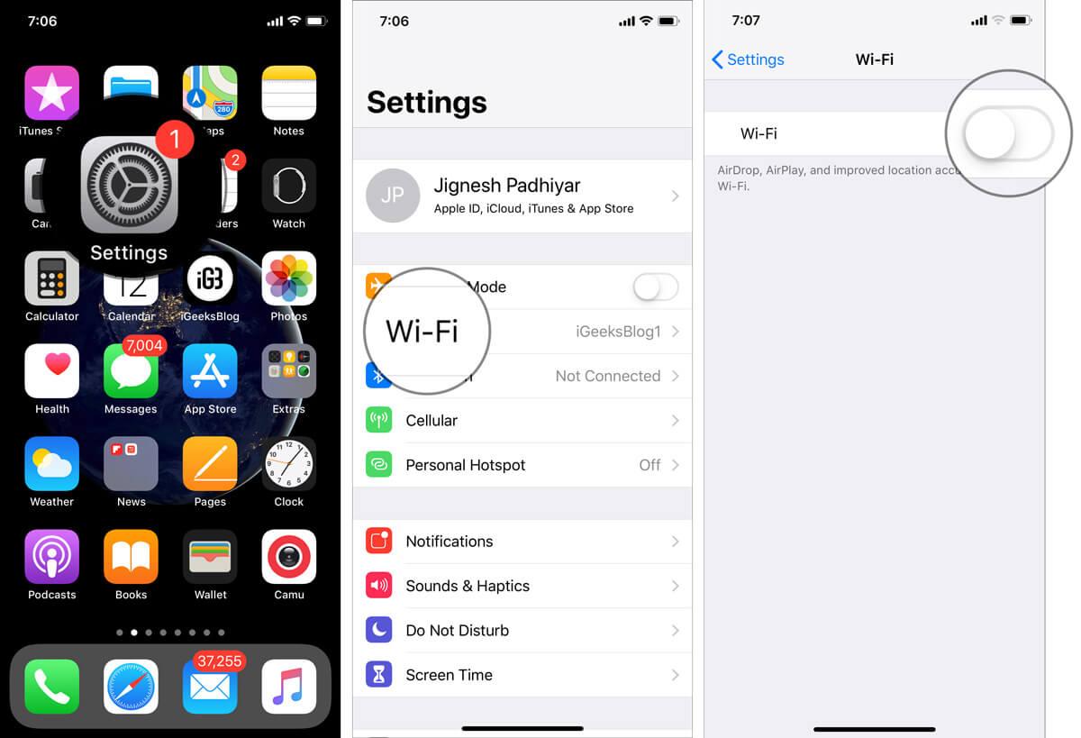 Turn Off WiFi on iPhone or iPad