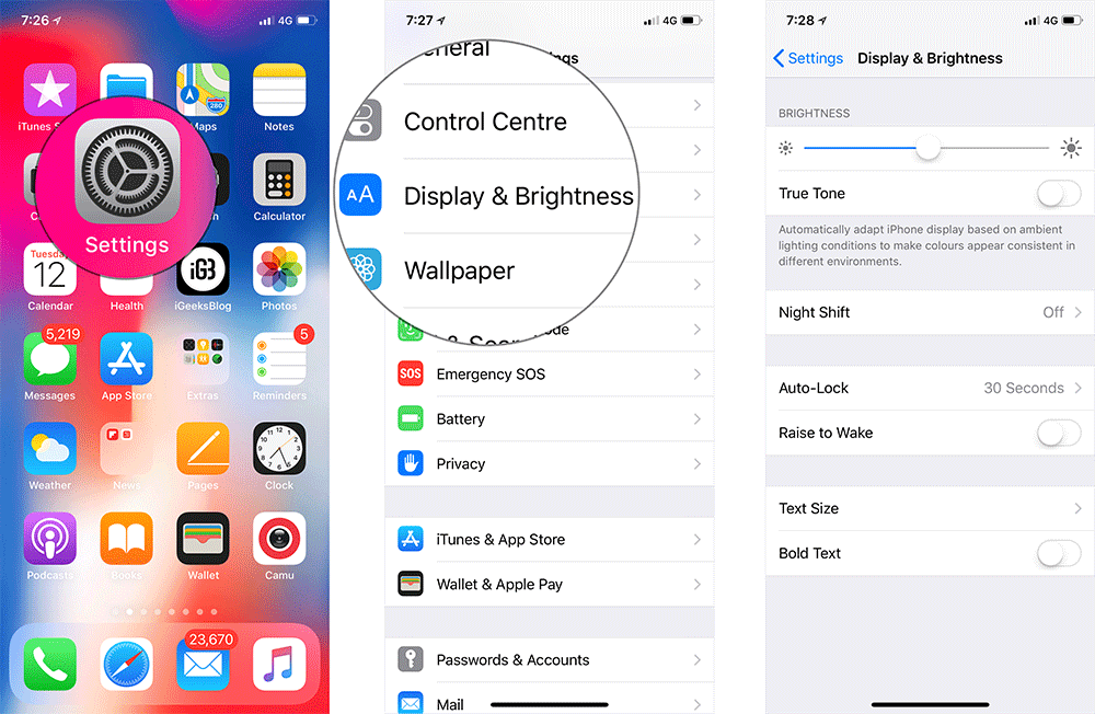 Change Display and Brightness Settings to Save iOS 12 Battery Life