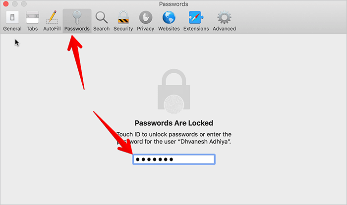 Click on Passwords Tab in macOS Mojave on Mac