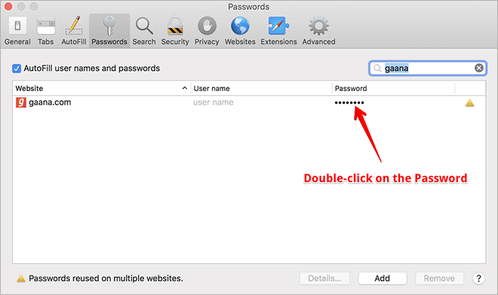 Double-click on Password in Safari in macOS Mojave