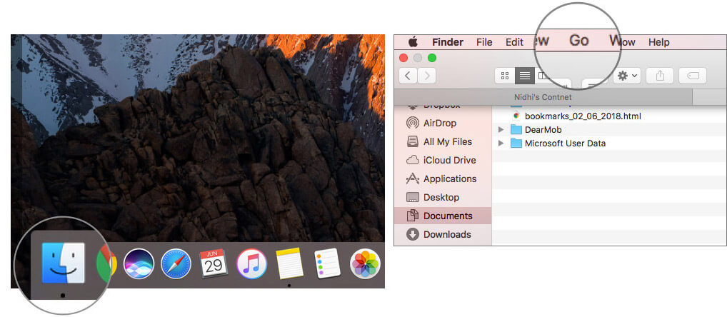 Launch Finder on Mac and click on Go in Menu bar