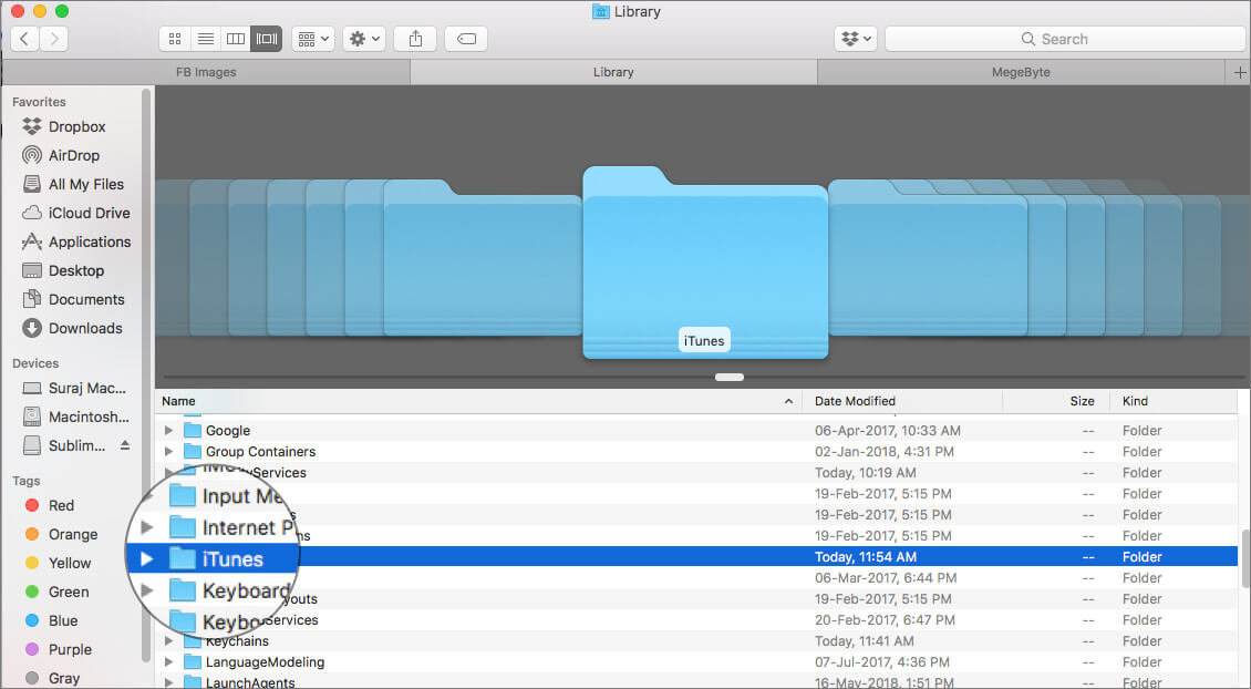 Open iTunes folder in Mac Finder Library