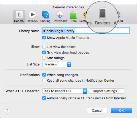 Select Devices tab in iTunes Preferences