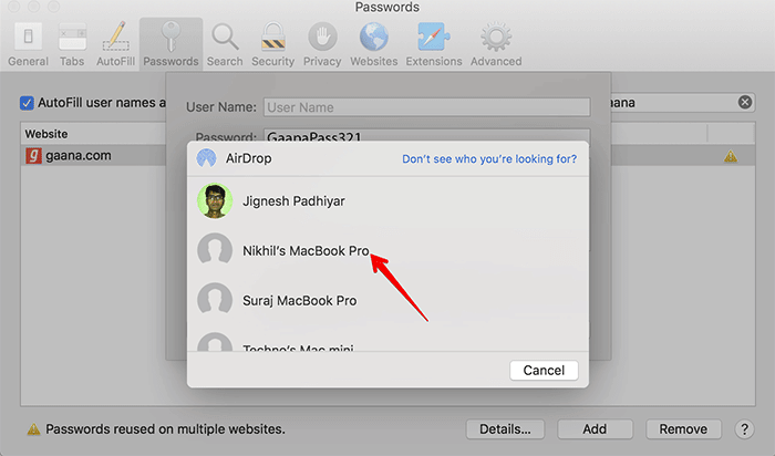 Share Passwords Using AirDrop in macOS Mojave