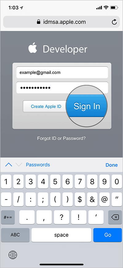 Sign into Developer Account on iPhone or iPad