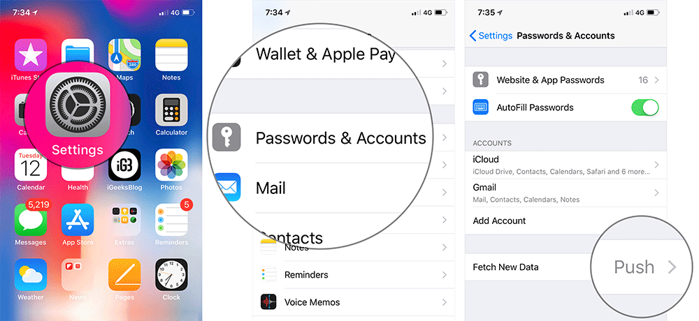 Tap on Settings then Passwords and Account on iPhone