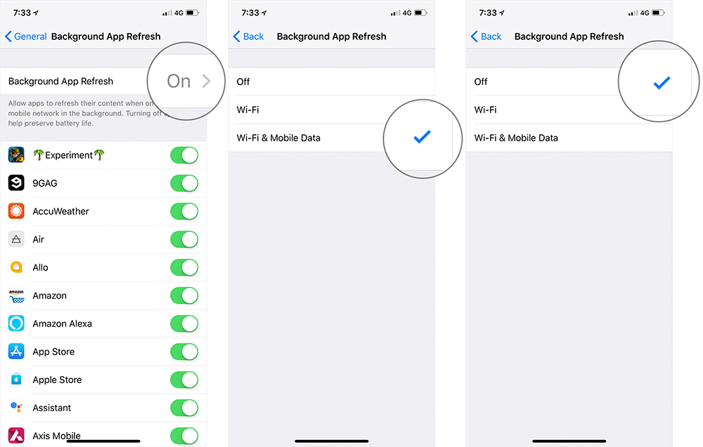 Turn Off Background App Refresh on iPhone in iOS 12