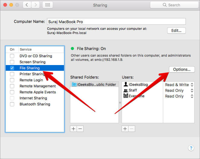 Check the box next to File Sharing then click on Options in Mac Sharing