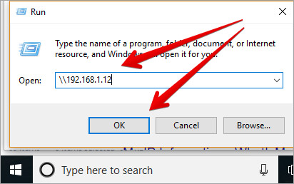 Enter Mac IP Address in Run Access on Windows PC