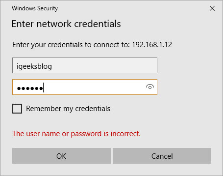 Enter your Mac account and password on Windows PC