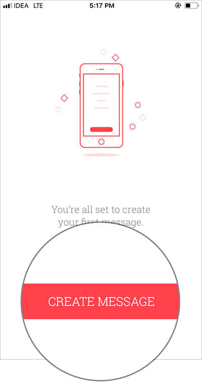 Tap on Create Message in iOS Scheduled App