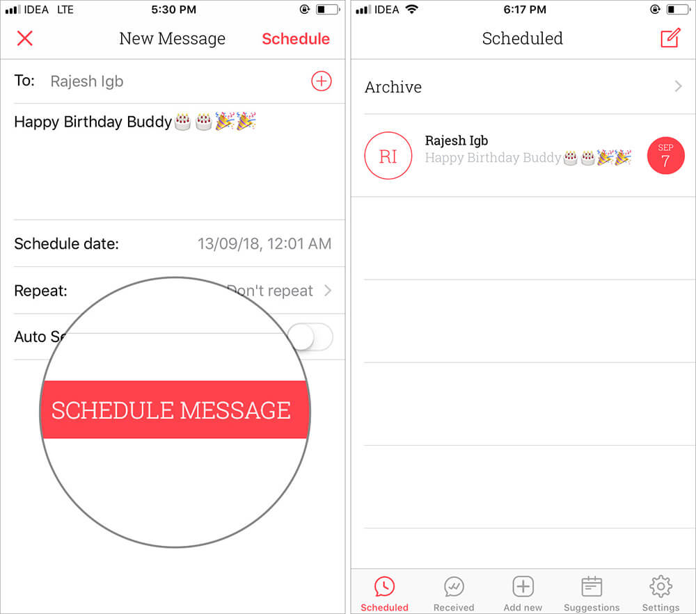 Tap on Schedule Message to Schedule Text Messages on iPhone