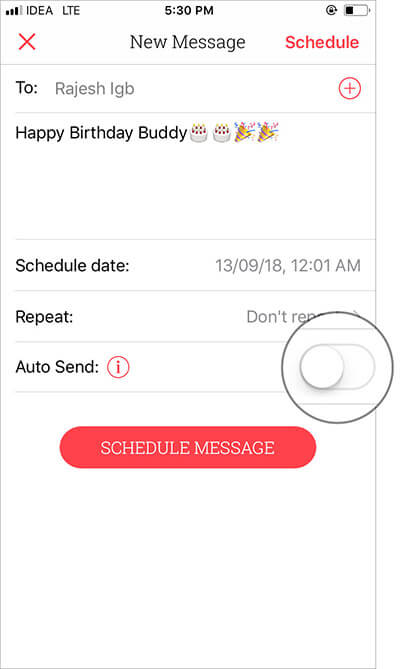 Toggle on the switch next to Auto Send in Scheduled app premium version