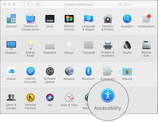 Click on Accessibility in macOS Mojave System Preferences