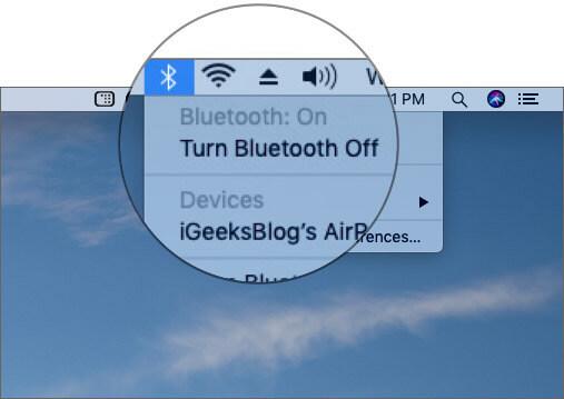 Turn Bluetooth Off on Mac running macOS Mojave