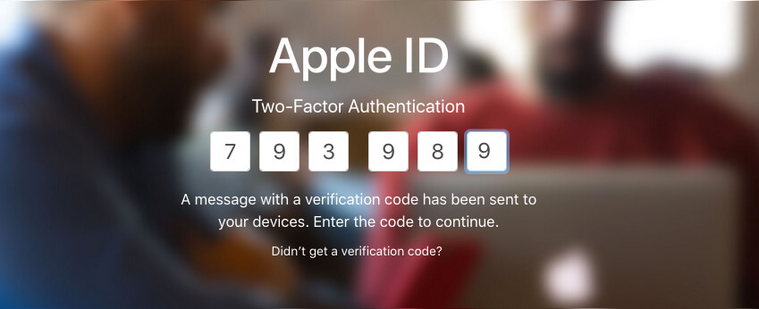 Enter Verification Code in Apple ID Website