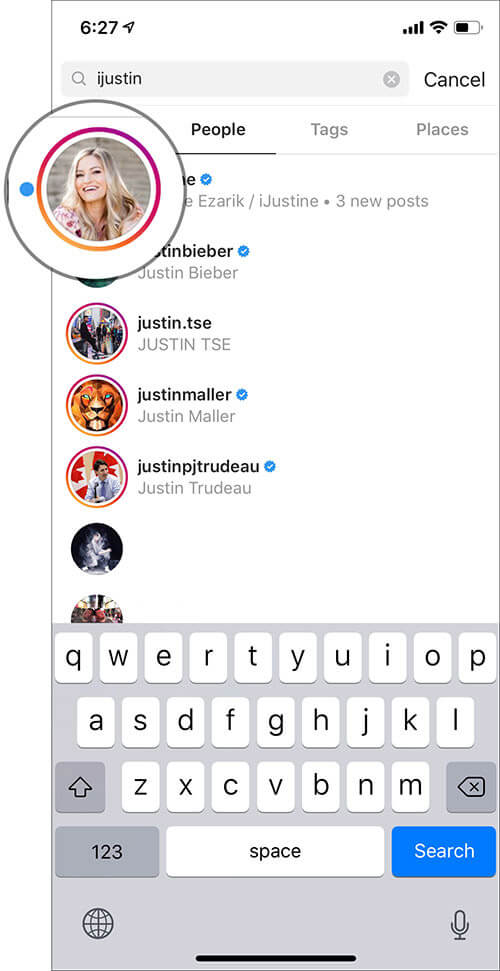 Tap on Profile Icon in Instagram on iPhone