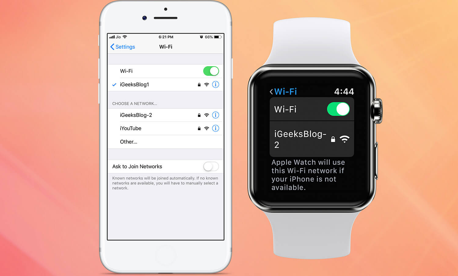 Apple Watch is connected to a public Wi-Fi network
