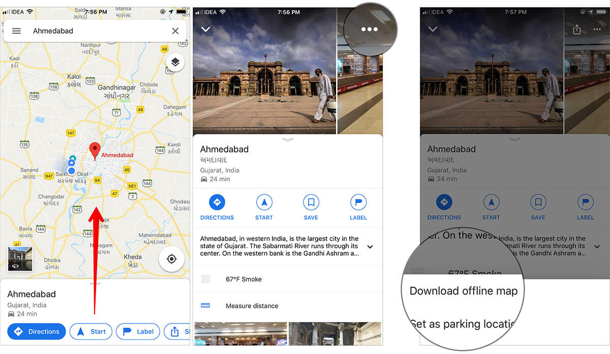 Download offline map in Google Maps App