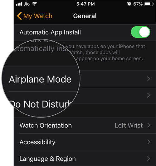 Tap on Airplane mode Under General in Watch app