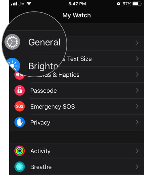 Tap on General in Watch app on iPhone
