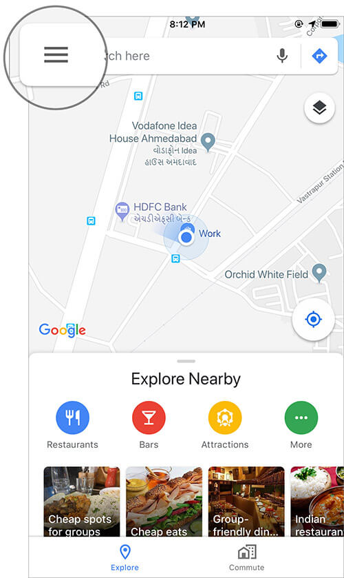 Tap on Menu button in Google Maps app