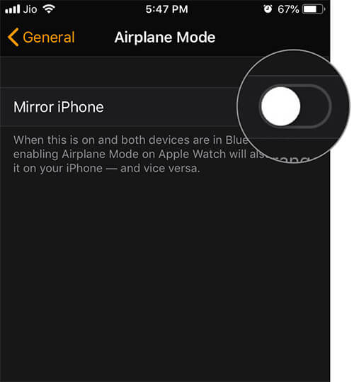 Turn Off Mirror iPhone in Watch App