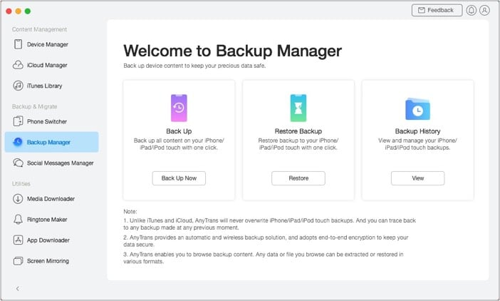 iMobie AnyTrans for iOS Backup Manage
