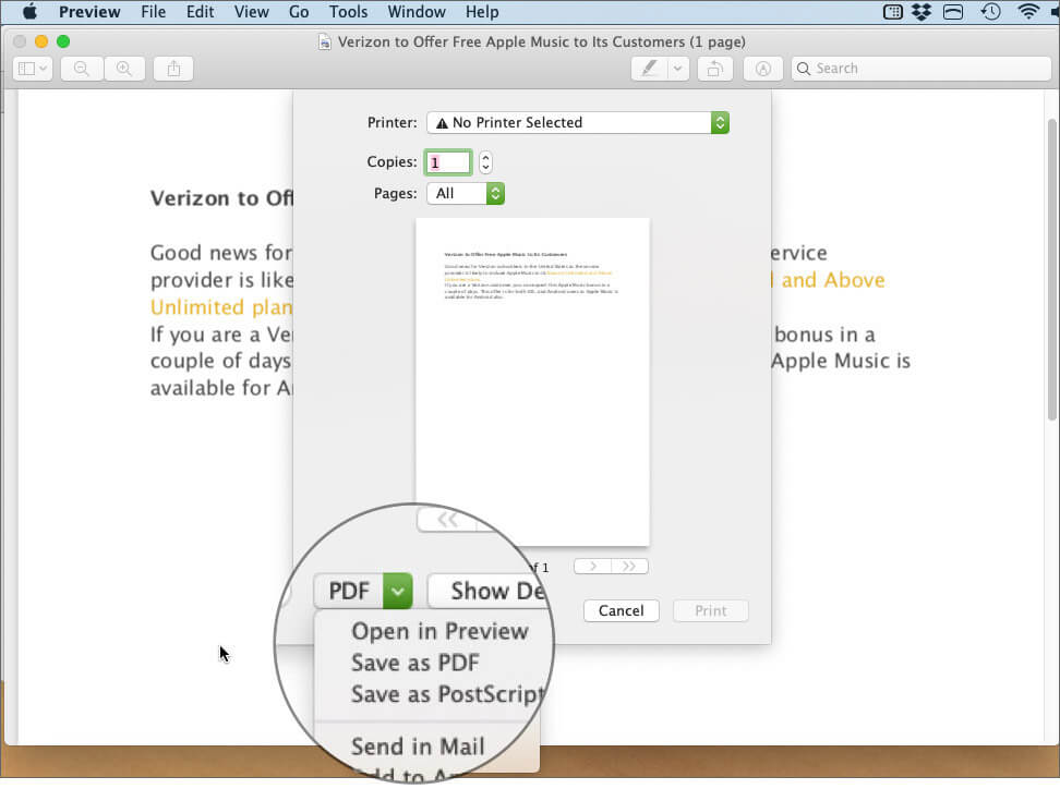 Click Drop Down Menu next to PDF, Choose Save as PDF in PDF Preview App on Mac