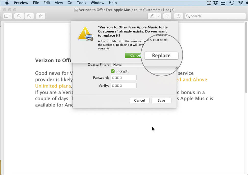 Click on Replace to Encrypt PDF File on macOS