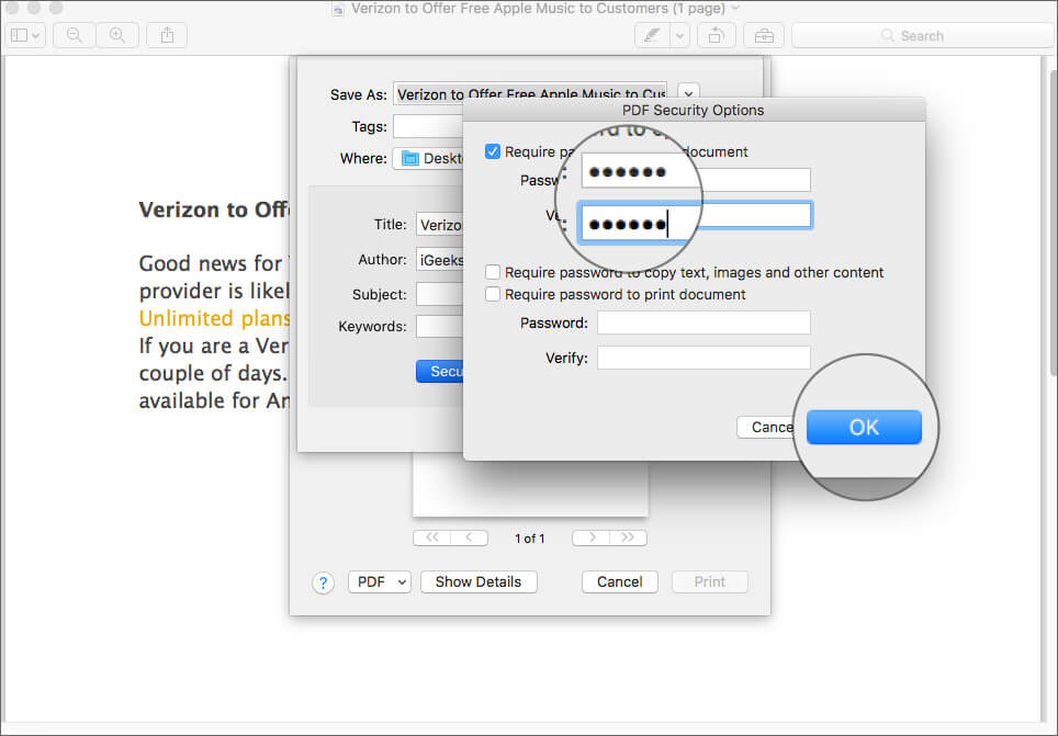 Enter Password to Protect PDF File on Mac